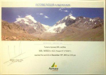 Aconcagua Climbing Certificate