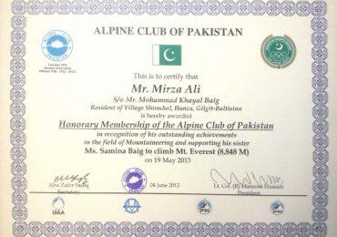 Member of Alpine Club of Pakistan
