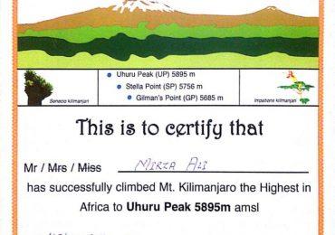 Mount Kilimanjaro Climbing Certificate