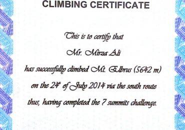 Mount Elbrus Climbing Certificate