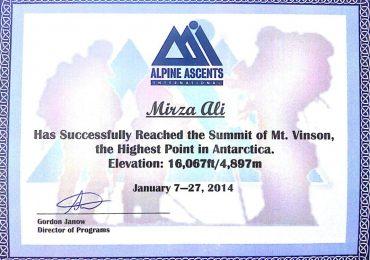 Mount Vinson Climbing Certificate