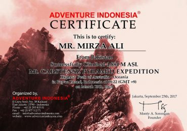 Mount Carstensz Pyramid Climbing Certificate