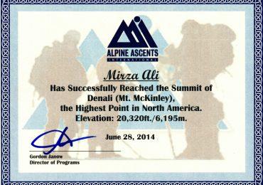 Mount Denali Climbing Certificate